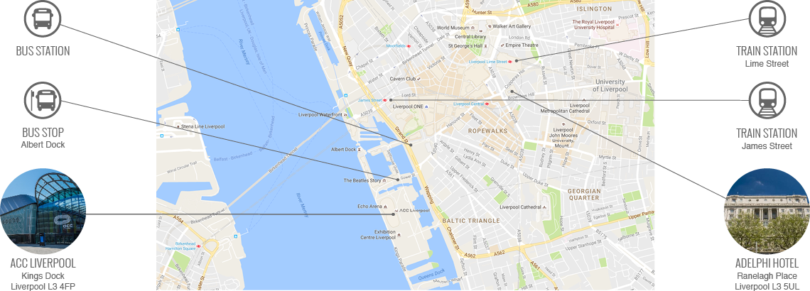 Map of Liverpool travel points and hotels